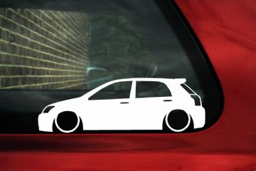 2x Low car outline stickers - Toyota e120 Corolla 5 door T-Sport,Compressor